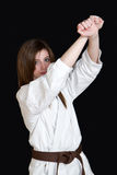 Karate girl Stock Photo