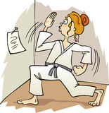 Karate girl. Cartoon illustration of teen girl practise karate Royalty Free Stock Photos