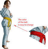 Karate Girl. Little girl karateka stands in a fighting position facing the viewer Royalty Free Stock Photography