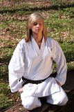 Karate girl - meditation Stock Photos