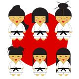 Karate girl six japanese karate cute little girls in their kimonos on red flag with six different hair styles vector illustration