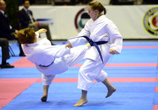 Karate Girls Fight Royalty Free Stock Images