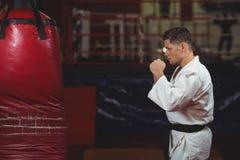 Karate gracz ćwiczy na uderzać pięścią torbę obraz royalty free