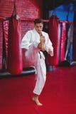Karate gracza karate ćwiczy postawa fotografia stock