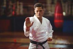 Karate gracza spełniania karate postawa fotografia royalty free
