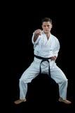 Karate gracza spełniania karate postawa fotografia stock
