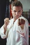 Karate gracza spełniania karate postawa obrazy royalty free