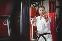 Karate gracza spełniania karate postawa obraz royalty free