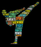 Karate graphics. Martial arts info-text graphics and arrangement words cloud. Martial arts and sports concept Royalty Free Stock Photography