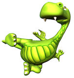 Karate green dragon baby dino Stock Photography