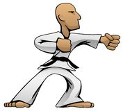 Karate Guy Cartoon Vector Color Illustration de los artes marciales fotografía de archivo