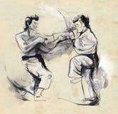 Karate - hand dragen (calligraphic) illustration Royaltyfria Bilder