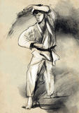 Karate - hand dragen (calligraphic) illustration Arkivbilder