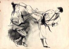 Karate - hand dragen (calligraphic) illustration Fotografering för Bildbyråer