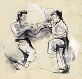 Karate - Hand drawn (calligraphic) illustration Royalty Free Stock Images