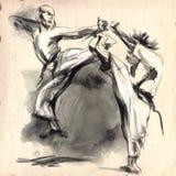 Karate - Hand getrokken (kalligrafische) illustratie Royalty-vrije Stock Foto's