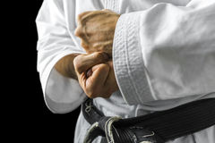 Karate hands. Closeup of male karate fighter hands Royalty Free Stock Image