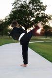 Karate joven del muchacho en parque Imágenes de archivo libres de regalías