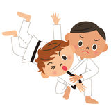 Karate, judo, back throw. The strong child who learns the martial arts royalty free illustration