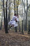 Karate jump Royalty Free Stock Image