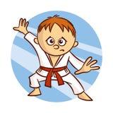 Karate-Jungen-Aufkleber stock abbildung