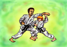 Karate-Kampf-Praxis 2016 Lizenzfreie Stockfotos