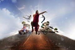 Karate karting del batut del bmx del baloncesto del collage multi de los deportes foto de archivo
