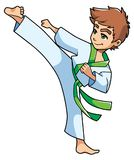 Karate Kick Boy. Full length illustration of a skilled boy with green belt exercising balance and flexibility during karate stance against white background for Stock Photos