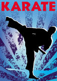 Karate kick poster. Vector. Royalty Free Stock Photo