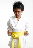 Karate Kid with yellow belt. Looking intense Stock Photo