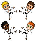 Karate kids. Collection of karate characters of children Stock Photos