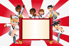 Karate kids banner. A vector illustration of a banner with kids practicing karate Stock Photo
