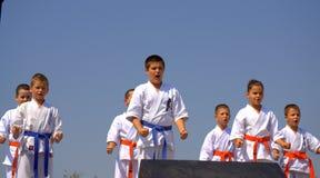 Karate kids demonstration Stock Image