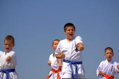 Karate kids demonstration Royalty Free Stock Photos