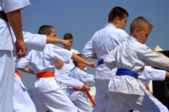 Karate kids demonstration Royalty Free Stock Photography