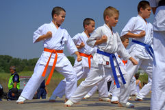 Karate kids demonstration Stock Photo