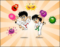 Karate Kids kick Virus vector. Cute Karate Kids kicking viruses vector available in eps suitable for sticker, t-shirt, mug, magazine, website, etc Royalty Free Stock Images