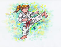 Karate Kids -kicking girl The Power of Karate-Do, 2017& x29; Royalty Free Stock Photo