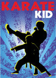 Karate kids poster. Vector. Stock Images