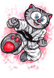 Karate Kitten leaping kick The Power of Karate-Do, 2017. An abstract colorful watercolor cartoon illustration of a  manga like kitten with big eyes, wearing  a Royalty Free Stock Photo