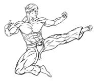 Flying Kick Karate or Kung Fu Man vector illustration
