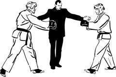 Karate Kyokushinkai  martial arts  sports. Karate Kyokushinkai sketch martial arts and combative sports Stock Photography