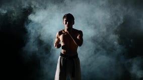 Karate lub Taekwondo szkolenia mężczyzna z nagim zbiory wideo