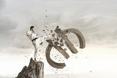 Karate mężczyzna ataka euro Obrazy Stock