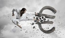 Karate mężczyzna ataka euro Zdjęcie Royalty Free