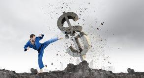 Karate mężczyzna w błękitnym kimino Obraz Stock