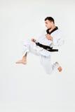 Karate mężczyzna z czarnym paskiem Zdjęcie Stock