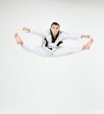 Karate mężczyzna z czarnym paskiem Fotografia Stock