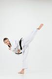Karate mężczyzna z czarnym paskiem Obrazy Royalty Free