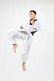 Karate mężczyzna z czarnym paskiem Zdjęcia Stock